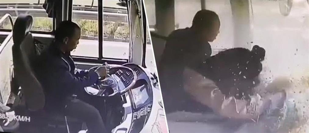 Οδηγός λεωφορείου κοιτά το κινητό του και προκαλεί τροχαίο (βίντεο)