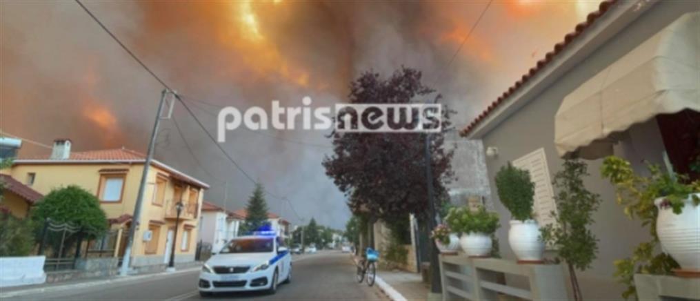 Φωτιά στην Ηλεία: δύο μεγάλα πύρινα μέτωπα (βίντεο)
