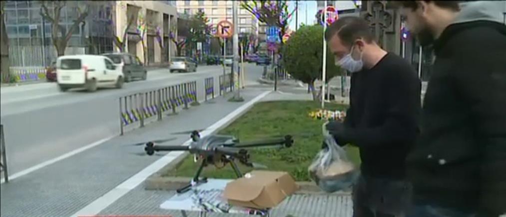 Με drone η παράδοση ψωμιού και φαρμάκων στην Θεσσαλονίκη (βίντεο)