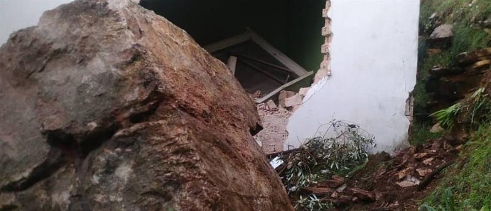Έπεσε ο βράχος μέσα στο σπίτι τους (εικόνες)