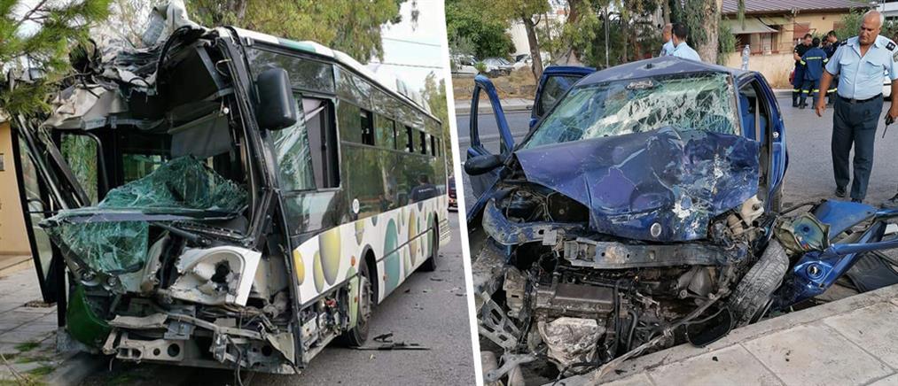 Σοβαρό τροχαίο με λεωφορείο στο Μενίδι (εικόνες)