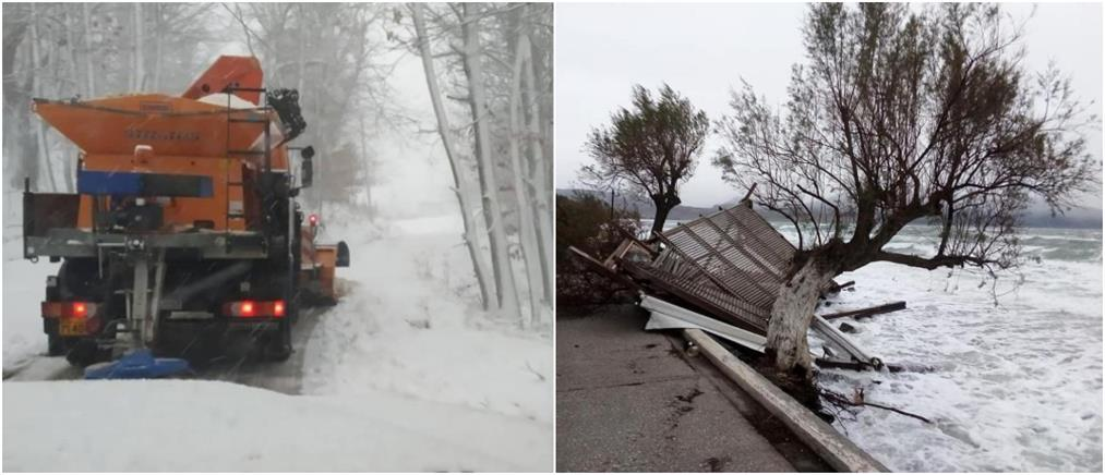 """Κακοκαιρία """"Ηφαιστίων"""": Τεράστιες καταστροφές και χιόνια στην Λέσβο (εικόνες)"""
