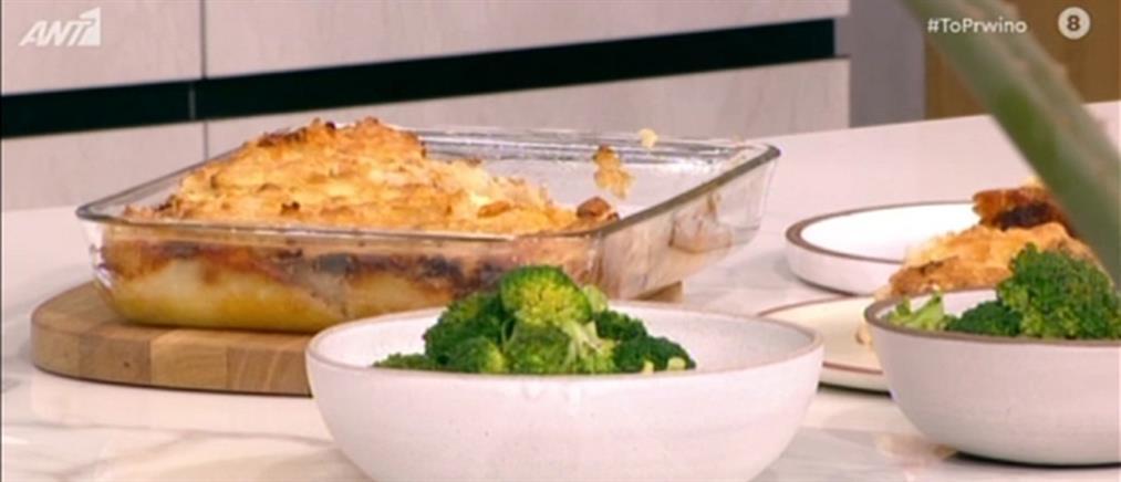 Σουφλέ με βελούδινο τυρένιο πουρέ και κοτόπουλο
