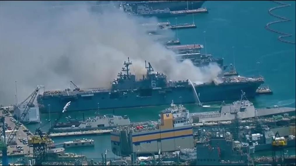 Δεκάδες τραυματίες από έκρηξη και πυρκαγιά σε πολεμικό πλοίο