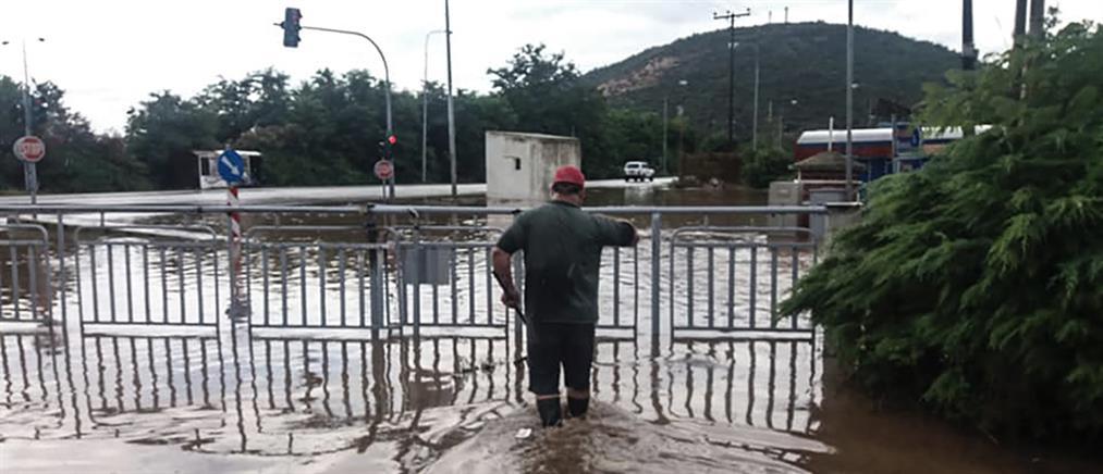 Αποκλεισμένο χωριό της Καβάλας λόγω πλημμύρας (φωτο)