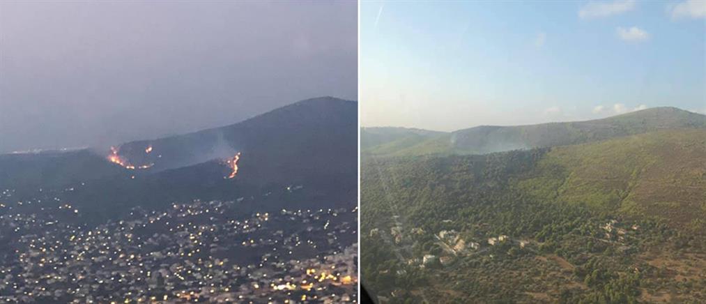 Φωτιά στη Νέα Μάκρη: εικόνες από τους πιλότους των καναντέρ