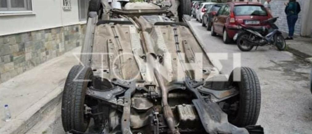 Αναποδογύρισε αυτοκίνητο από σφοδρή σύγκρουση (εικόνες)