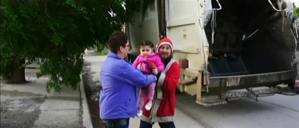 Ο Άγιος Βασίλης με το απορριμματοφόρο (βίντεο)