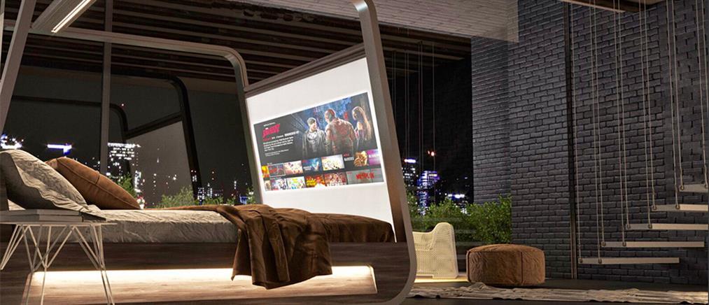 """Το """"έξυπνο"""" κρεβάτι με την ενσωματωμένη οθόνη τηλεόρασης (εικόνες)"""