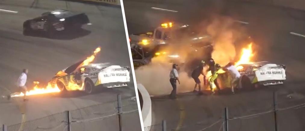 Συγκλονιστικό βίντεο: πατέρας σώζει τον γιο του από φλεγόμενο όχημα