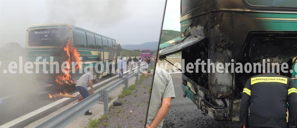 Τρόμος σε λεωφορείο του ΚΤΕΛ που έπιασε φωτιά εν κινήσει (φωτό)