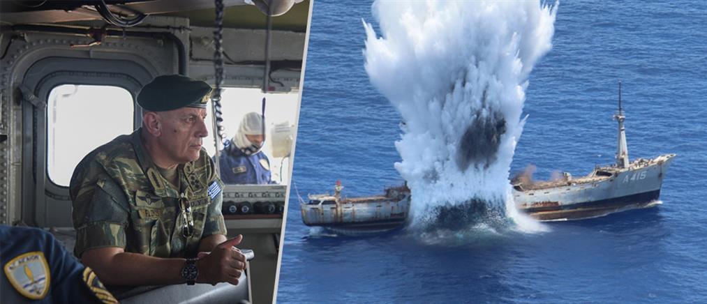 Εντυπωσιακή άσκηση με πραγματικά πυρά και βύθιση πλοίου με τορπίλη (εικόνες)
