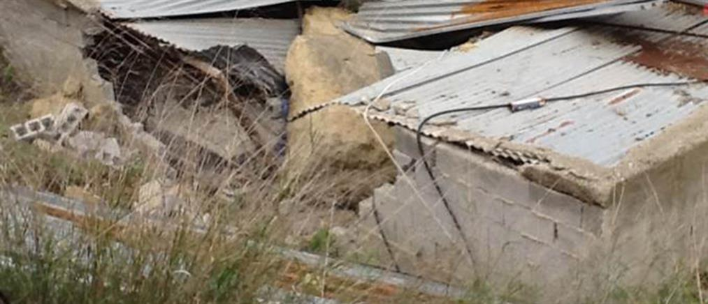 Βράχος έπεσε σε σπίτι στο Ηράκλειο (εικόνες)