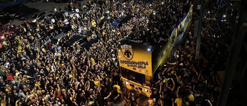Ολονύκτιο πάρτι στη Νέα Φιλαδέλφεια για την πρωταθλήτρια ΑΕΚ (εικόνες)