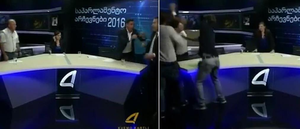 Ξύλο σε τηλεοπτικό στούντιο (βίντεο)