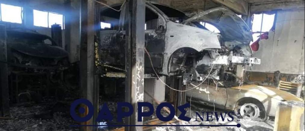 Καλαμάτα: φωτιά σε συνεργείο αυτοκινήτων (εικόνες)