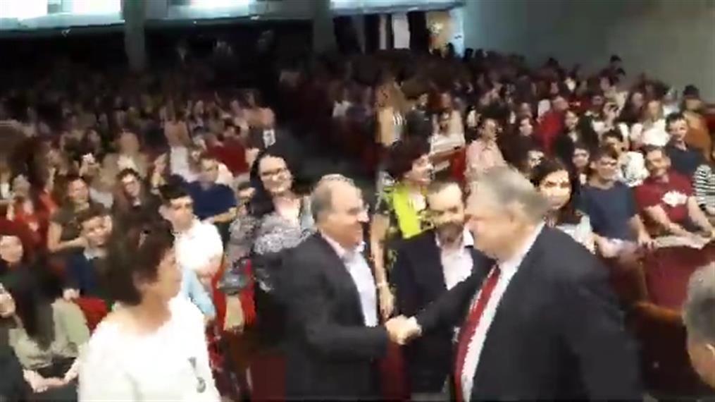 Άφιξη Ευάγγελου Βενιζέλου στο Αριστοτέλειο Πανεπιστήμιο Θεσσαλονίκης