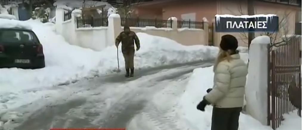 """Ο ΑΝΤ1 στην Θήβα: """"Λευκή τυραννία"""" από χιόνι και πάγο (βίντεο)"""