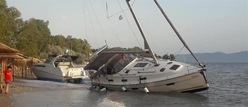 Κακοκαιρία στο Πήλιο: Σκάφη βγήκαν στην στεριά (εικόνες)