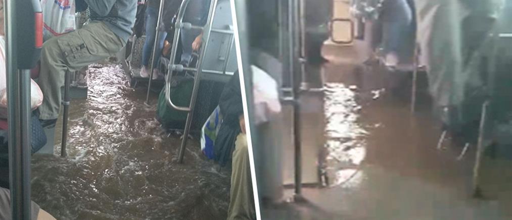 Πλημμύρισε… λεωφορείο στον Ασπρόπυργο (βίντεο)