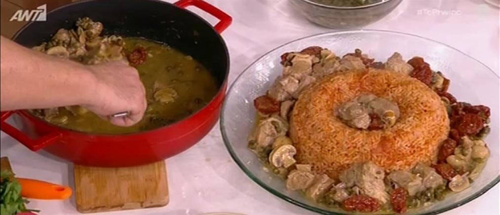 Χοιρινό λεμονάτο με κάπαρη, λιαστές ντομάτες και ρύζι από τον Βασίλη Καλλίδη