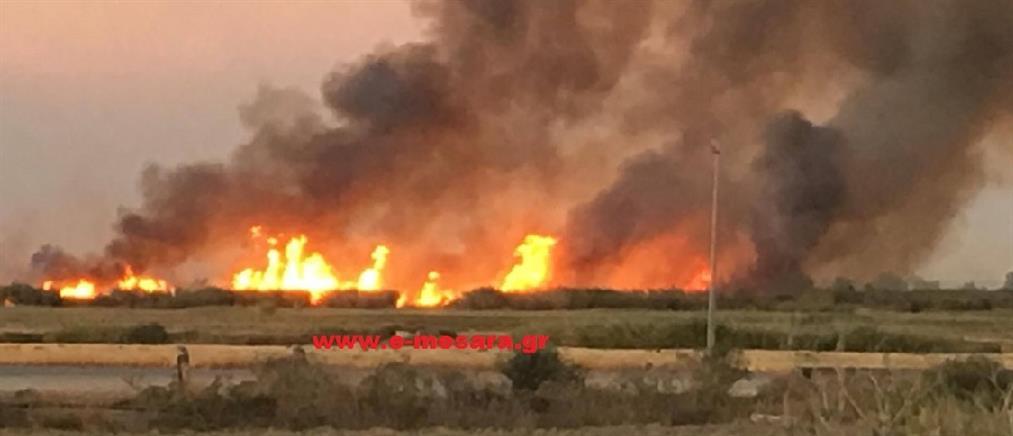 Φωτιά στο αεροδρόμιο Τυμπακίου