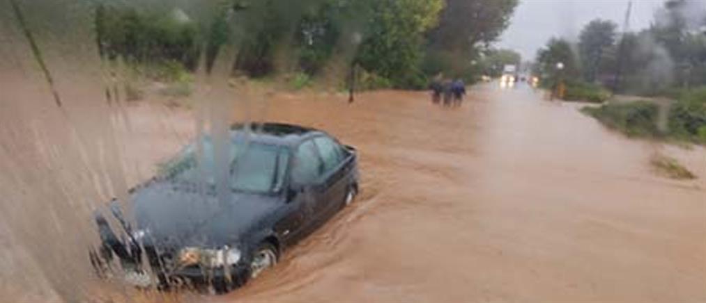 """""""Μπάλλος"""" - Λαγκαδάς: Ηλικιωμένος ανέβηκε στην οροφή αυτοκινήτου για να σωθεί"""