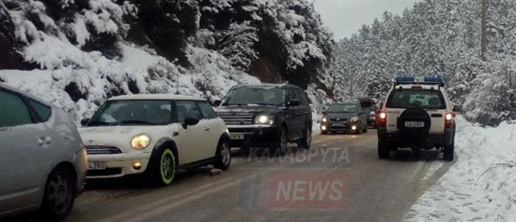Καραμπόλα 20 αυτοκινήτων προκάλεσε ο χιονιάς (εικόνες)
