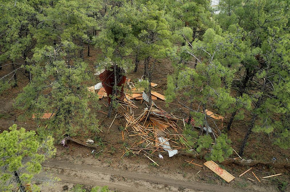 Χαλκιδική - αεροφωτογραφίες - καταιγίδα - καταστροφές