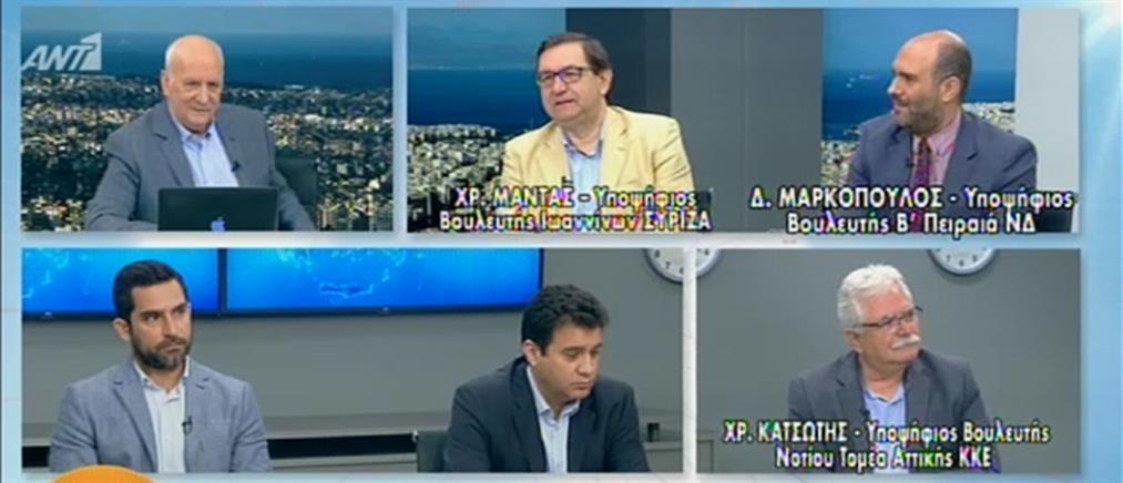 Εκλογές 2019: Μαντάς, Μαρκόπουλος και Κατσώτης στον ΑΝΤ1 (βίντεο)