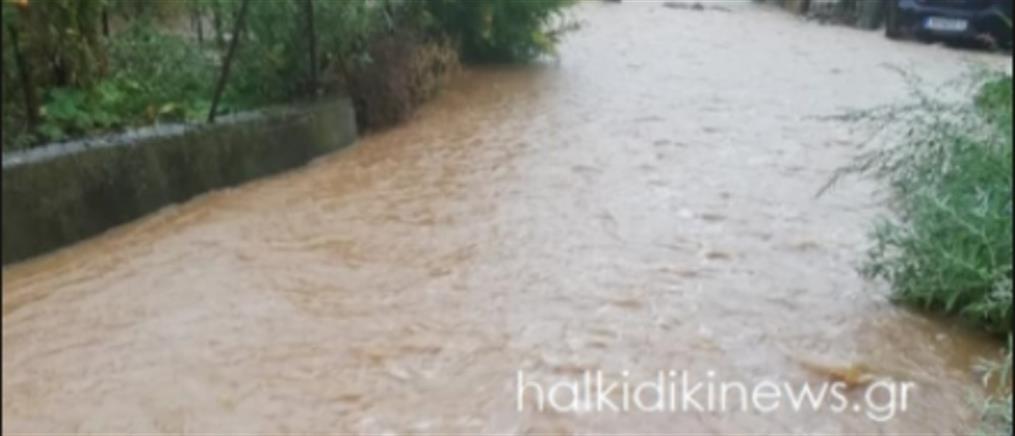 """Χαλκιδική: """"έβρεξε προβλήματα"""" στην Κασσάνδρα (βίντεο)"""