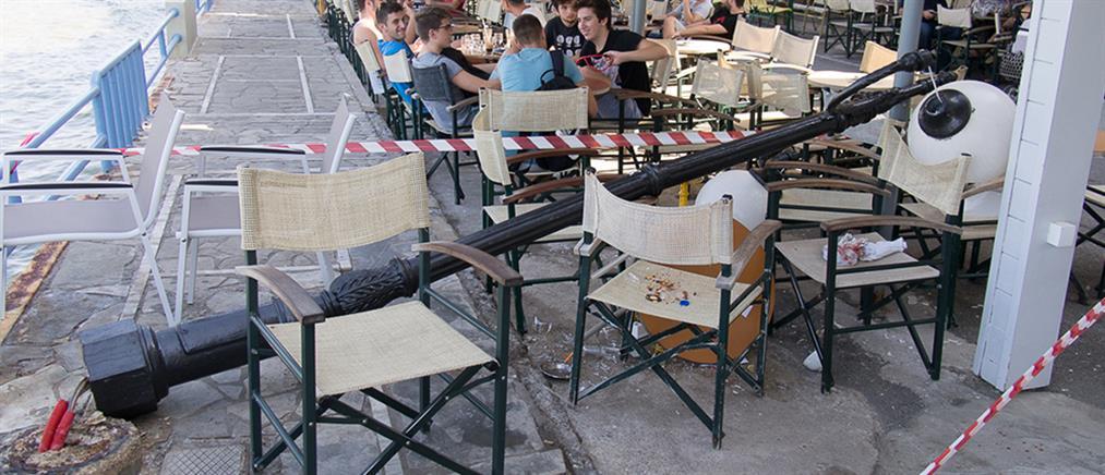 Χανιά: τους έπεσε κολώνα στο κεφάλι στην καφετέρια