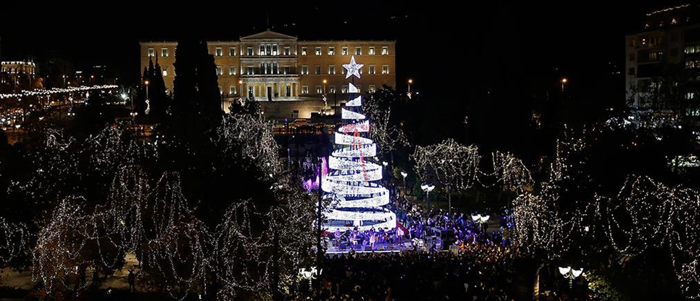 Φωταγωγήθηκε το χριστουγεννιάτικο δέντρο στο Σύνταγμα (βίντεο)