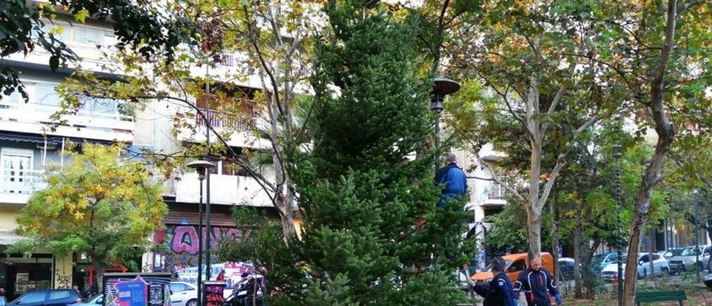 Νέο χριστουγεννιάτικο δέντρο στα Εξάρχεια