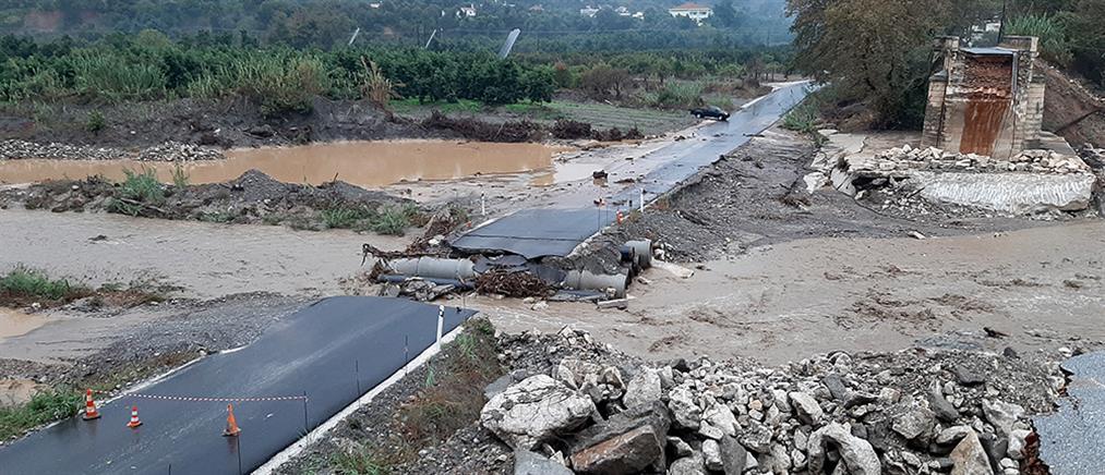 """Προβλήματα από τη """"Βικτώρια"""" στην Κρήτη: Υποχώρησε το γεφύρι του Κερίτη (εικόνες)"""