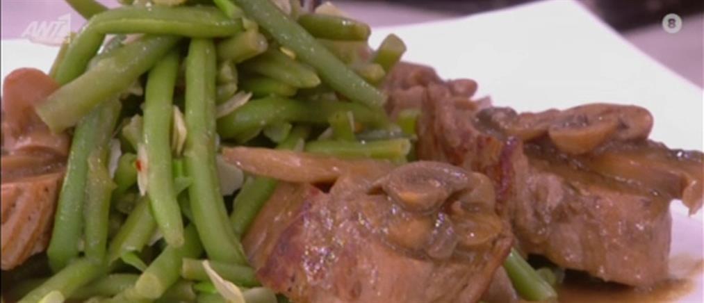 Ψαρονέφρι με σάλτσα μανιταριών από τον Πέτρο Συρίγο