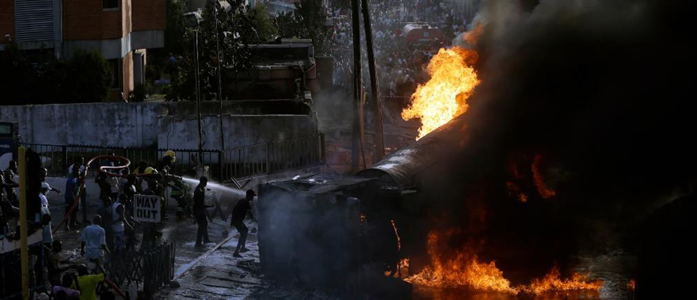 Έκρηξη σε βυτιοφόρο έξω από βενζινάδικο (εικόνες)