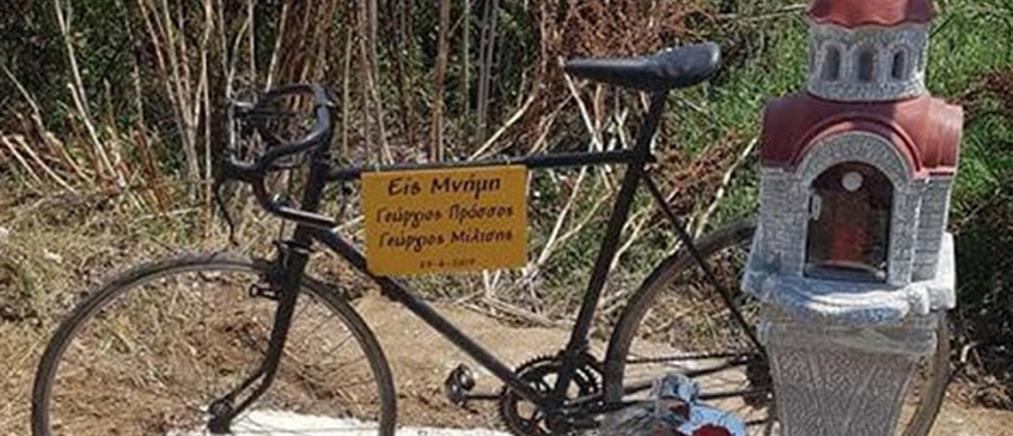 """Πτολεμαϊδα: Εκκλησάκι για τους ποδηλάτες που """"θέρισε"""" αυτοκίνητο (εικόνες)"""