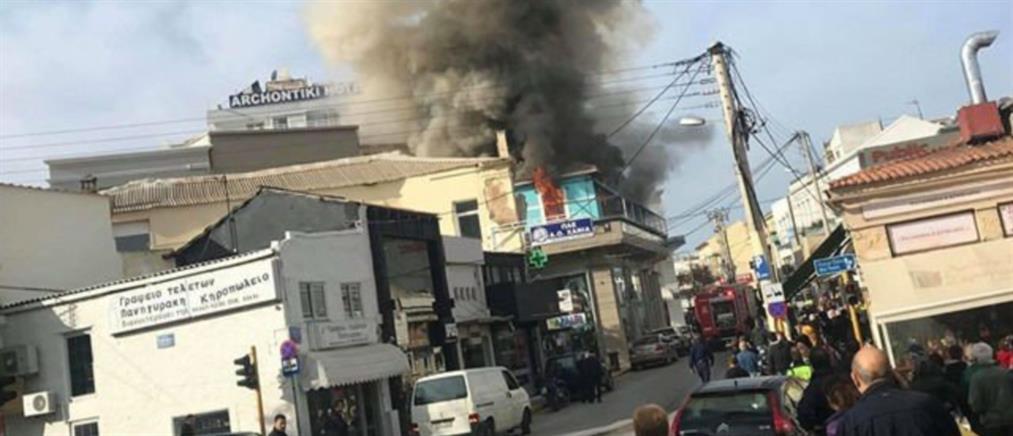 Χανιά: Μεγάλη πυρκαγιά στο κέντρο της πόλης (εικόνες)