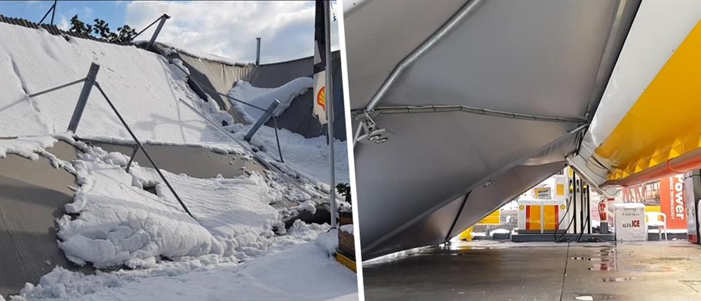 """""""Μήδεια"""" Κατάρρευση στέγης βενζινάδικου (εικόνες)"""
