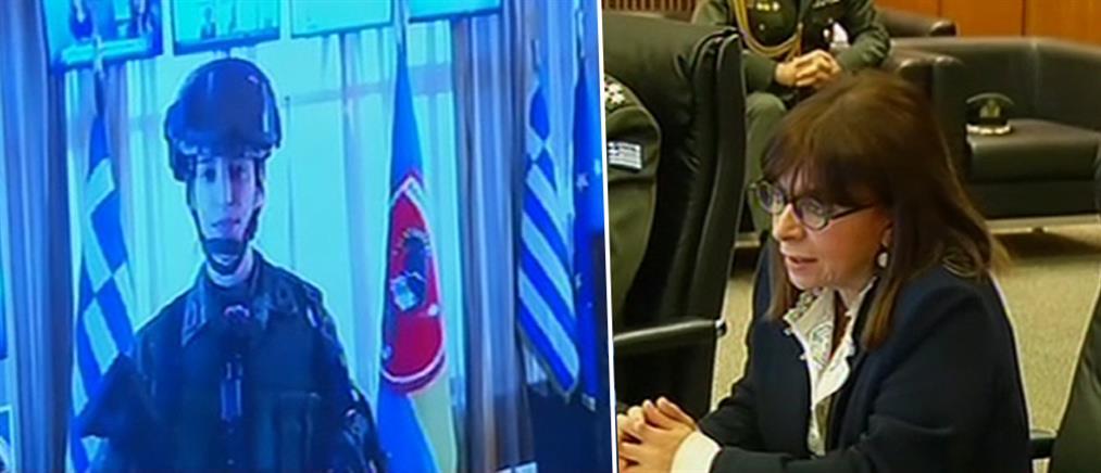 Η Κατερίνα Σακελλαροπούλου και η συνομιλία με γυναίκα ανθυπολοχαγό στις Καστανιές (βίντεο)