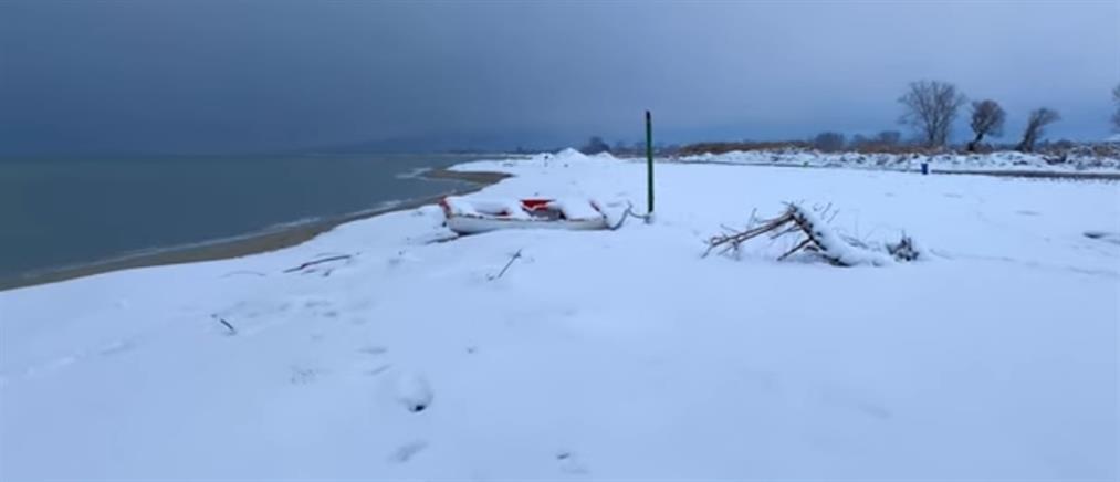 """""""Λέανδρος"""": Τα χιόνια έφτασαν στην θάλασσα (βίντεο)"""
