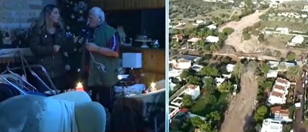 """Χωρίς νερό και ρεύμα οικισμοί στην Κινέτα μετά το πέρασμα του """"Γηρυόνη"""" (βίντεο)"""