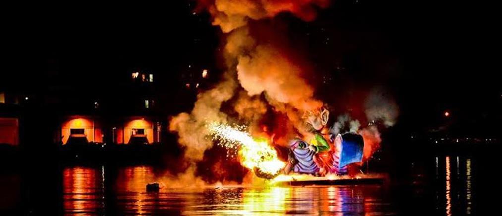 Με το κάψιμο του Καρνάβαλου κορυφώθηκαν οι Απόκριες (βίντεο)