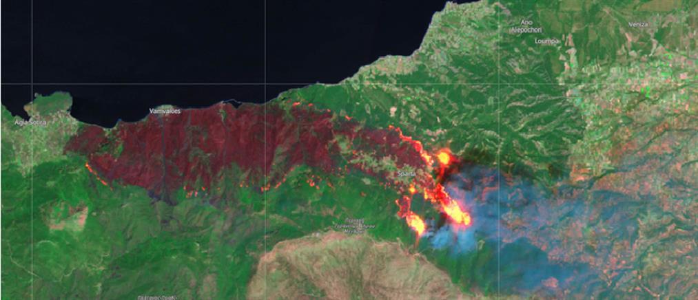 Φωτιά στα Γεράνεια Όρη: η εικόνα από τον ευρωπαϊκό δορυφόρο Sentinel-2