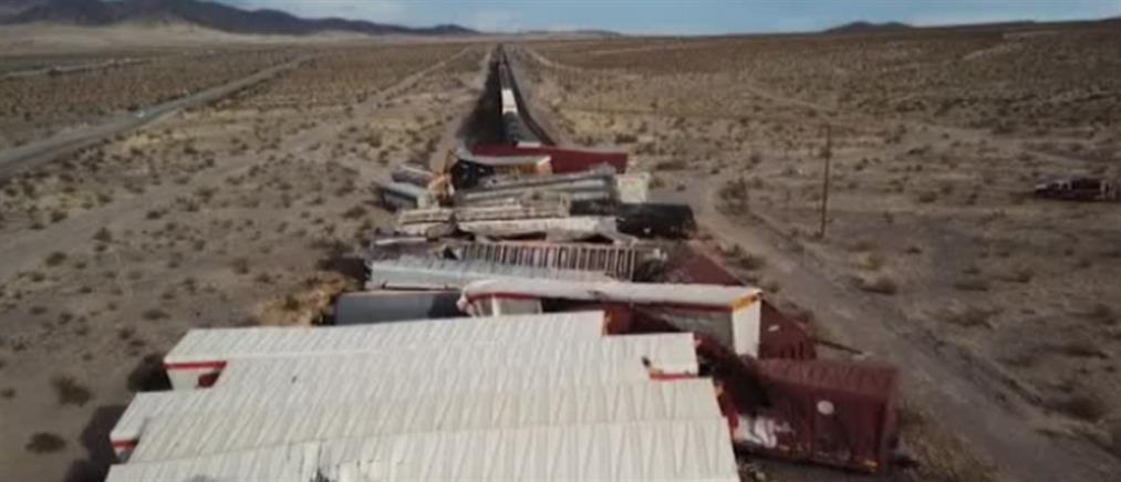 Εκτροχιασμός τρένου με δεκάδες βαγόνια (εικόνες)