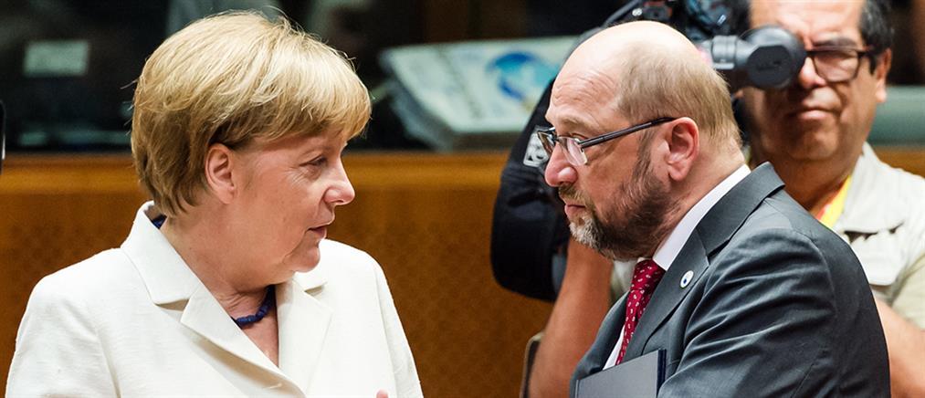 """Σκληρό """"παζάρι"""" Μέρκελ – Σουλτς για κυβέρνηση συνεργασίας"""