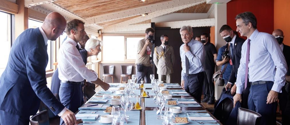 Μητσοτάκης: Γεύμα με Μακρόν και Χάρισον Φορντ για το περιβάλλον (εικόνες)