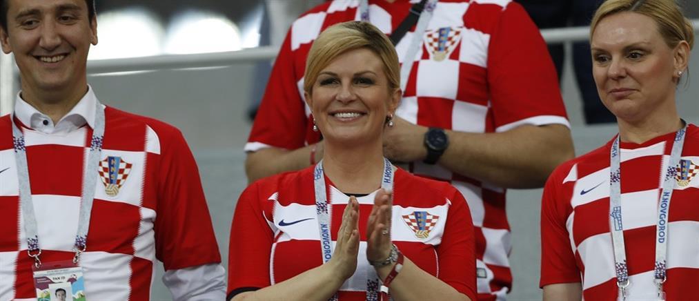 """Η Πρόεδρος της Κροατίας πανηγύρισε έξαλλα την πρόκριση στους """"4"""" του Μουντιάλ (βίντεο)"""