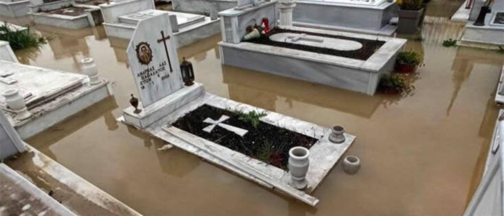 Υπερχείλισε ο Σπερχειός και πλημμύρισε νεκροταφείο (εικόνες)